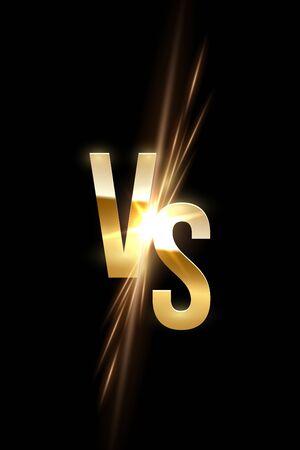 VS letter sign golden spark on black background