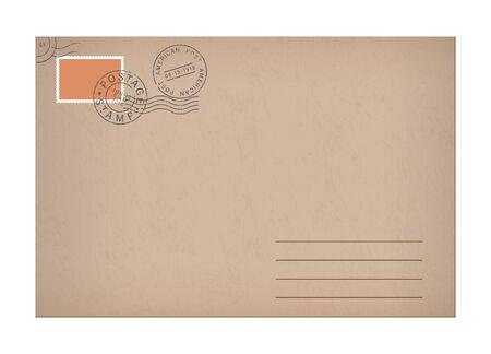 Vector realistic mockup vintage envelope marks