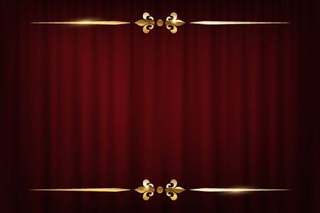 Vintage golden border isolated on red curtain Ilustração