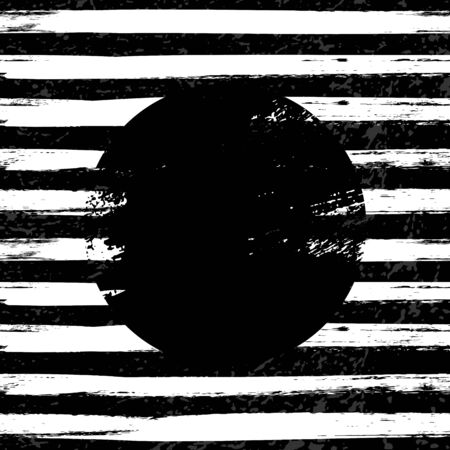 Grunge circle on striped white and black Ilustração