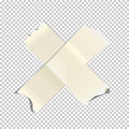 White crossed adhesive or masking tape pieces isolated on transparent background. Vector design element