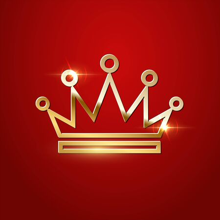 Golden sparkling Crown isolated on red background. Vector luxury design element.