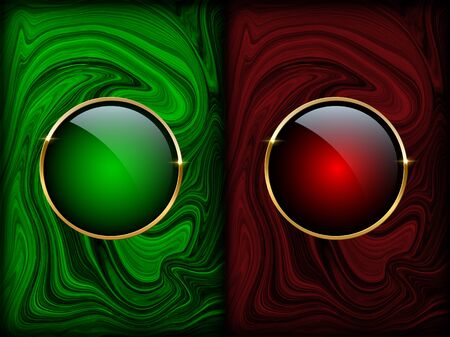 Golden ring on red and green marble backgrounds. Vector luxury design templates.