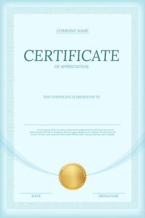 Certificate of appreciation vector template. Vertical diploma layout with text space. Luxury graduation document with golden seal. Business and management course. University, college achievement award Vector Illustration