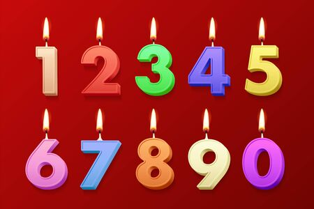 Different color birthday candles with burning flames isolated on red background. Vector design elements Illustration