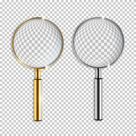 Vector realistic golden and silver magnifiers isolated on transparent background 向量圖像