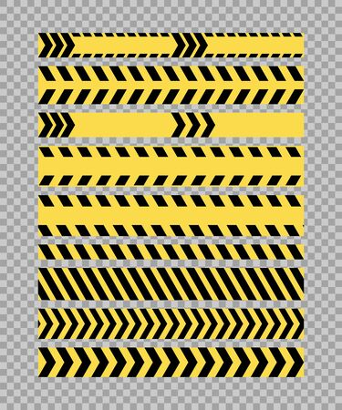 Yellow black striped police line horizontal border seamless patterns set. Warning signal tape set isolated on white background. Ilustração
