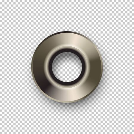 Shiny realistic metal rivet isolated on transparent background. Vector design element. Ilustração