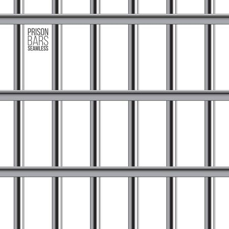 Crossed prison bar seamless pattern. Vector realistic illustration isolated on white background. Ilustração