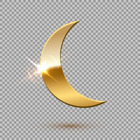 Gold shiny moon isolated on transparent background Ilustração