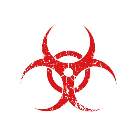 Red grunge biohazard sign isolated on white background. Vector symbol. Ilustração