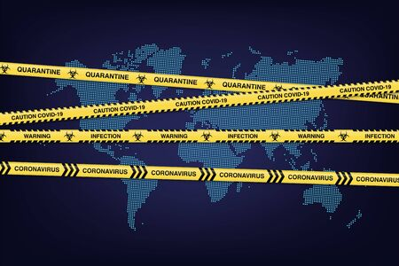 Yellow tapes with Covid-19 warning signs on blue dotted world map. Vector Novel Coronavirus design concept.