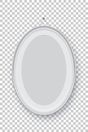 Oval vertical white picture or photo frame holding on pin isolated on transparent background. Vector design element.