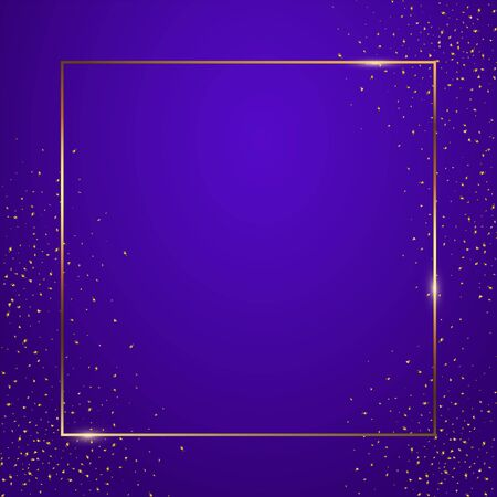 Blue gradient square background vector illustration. Elegant colorful wallpaper design. Creative backdrop with thin geometric border and golden confetti. Glossy banner with copyspace Ilustração