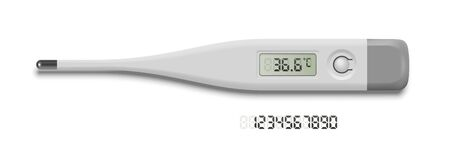 Medical thermometer showing normal temperature. Grey digital number set. Medicine and healthcare. Examination, diagnosis and treatment strategy selection. Vector object isolated on white background Ilustração