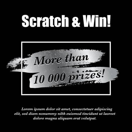 Lottery ticket. Silver scratch brush in frame. Realistic card game design. Quantity prizes advertising. Win promotion. Shiny glowing metal and black colors letters. Vector illustration Ilustração