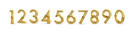 Golden numbers isolated on white background. Vector design elements Ilustração