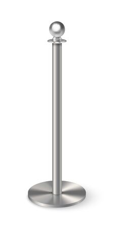 Realistic metal column with ball globe on top bolted on round base. Steel pipe element, pole post. Aluminum pillar structure template. Chrome construction. Object isolated on white background