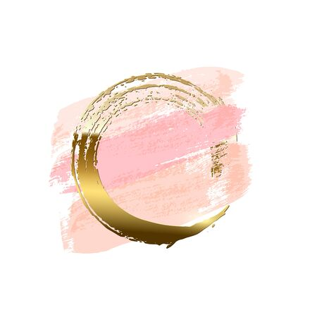 Pastel pink brush strokes with golden brush ring isolated on white background. Vector design element.