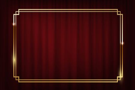 Vintage golden border isolated on red curtain background. Vector retro design element.