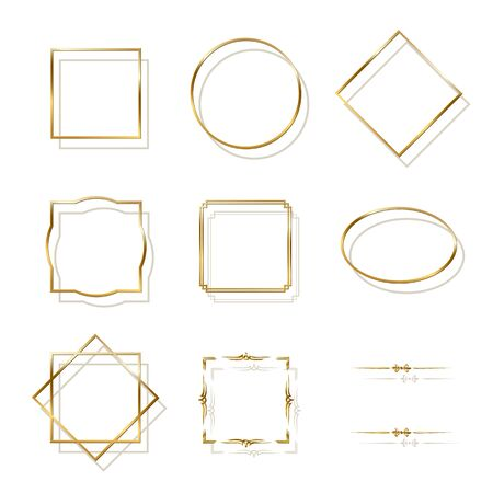 Golden shiny frames with shadows isolated on white background. Vector golden luxury realistic border set. Ilustração
