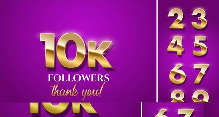 10k followers celebration vector banner with text and numbers set