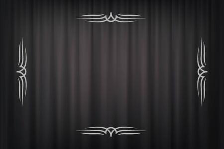 Vintage border in silent film style isolated on dark grey curtain background. Vector retro design element.