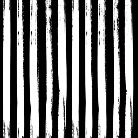 Black and white brush stroke seamless pattern with vertical lines. Vector background.