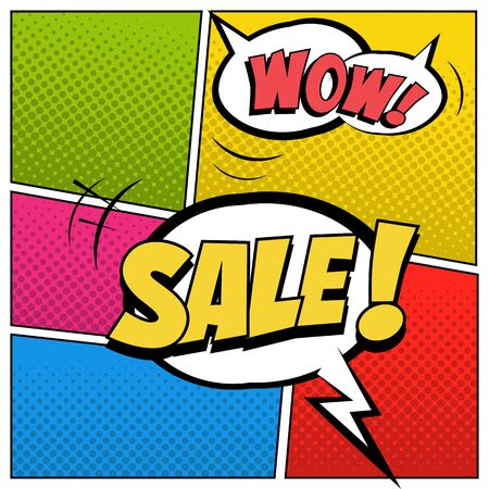 Sale illustration in comic book style. Speech bubbles with Sale and Wow words on colored halftone background.