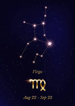 Virgo constellation vector poster template