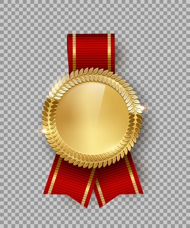 Award medal 3d realistic vector color illustration. Reward. Golden medal with red ribbon. Certified product. Quality badge, emblem on transparent background. Winner trophy. Isolated design element. Ilustração