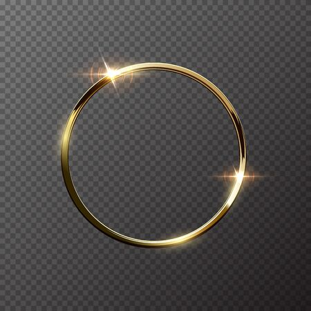 Golden sparkling ring isolated on transparent background. Vector golden frame.