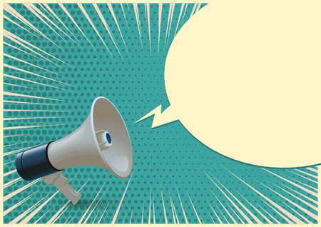Blue and white realistic megaphone and blank speech bubble isolated on azure pop art background. Vector 3d bullhorn illustration. Ilustração