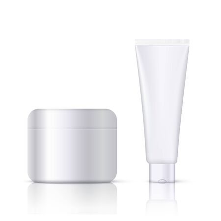 Realistic cosmetic cream container and tube mockup