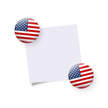 Fridge load stones holding empty sticker. Original USA round magnet, badge, circle button template isolated on white. American national symbol. United States of America flag. Vector illustration. Ilustração