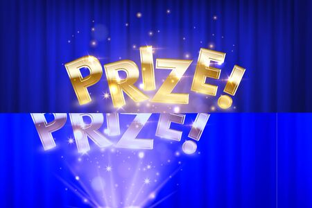 Prize, award win vector 3D word concept banner