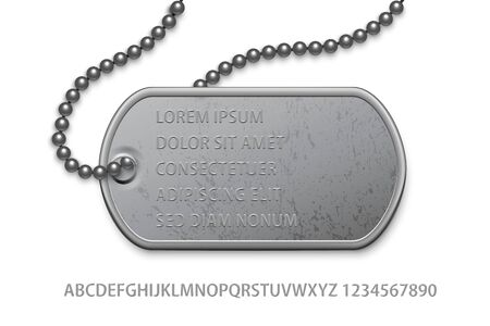 Metallic silver badge military with chain and editable text template. Dog tag on lace. Detailed element for army metal token. Engraved pendant for identification, blood type. Vector illustration