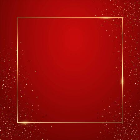 Red gradient square background vector illustration. Elegant colorful wallpaper design. Creative backdrop with thin geometric border and golden confetti. Glossy banner with copyspace.