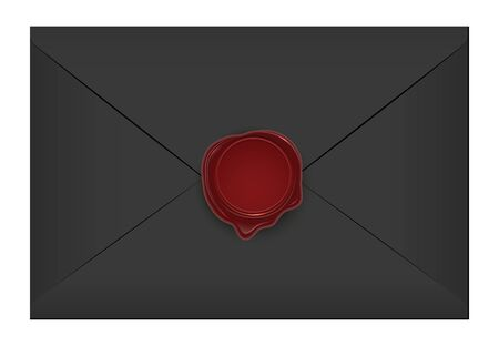 Realistic closed vintage old aged black letter envelop with round dark red wax seal stamp. Paper parchment. Ancient postage symbol collection. Post object isolated on white. Vector illustration.