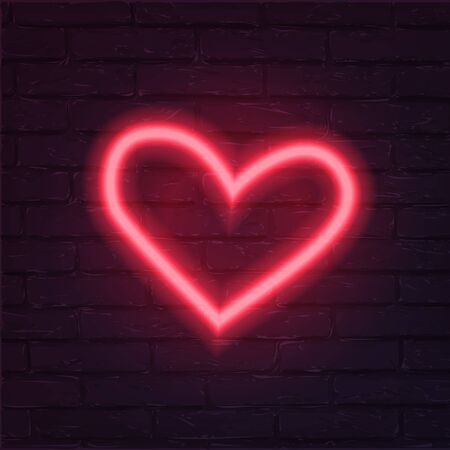 Neon red heart vector illustration. Romantic icon isolated on brick wall background. Love holiday celebration symbol. Valentine postcard, greeting card decorative design element. Ilustração