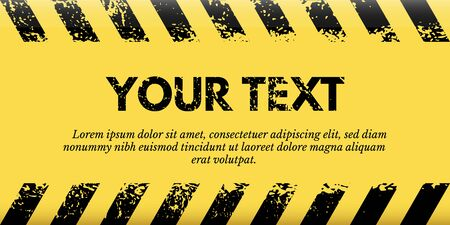 Banner yellow warning tape with place for text Ilustração