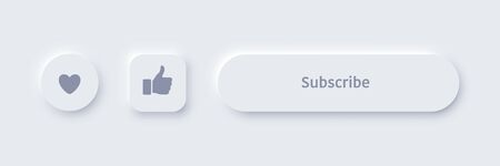 Vector neomorphism design white subscribe buttons