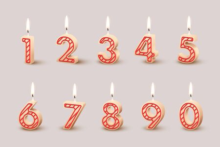 Birthday candles with burning flames isolated on light brown background. Vector design elements. Ilustração
