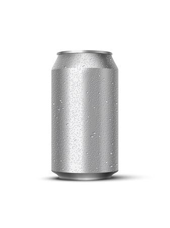 Vector realistic mockup metal can with water drops