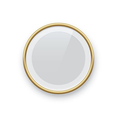 Round golden picture or photo frame isolated on white background. Vector design element.