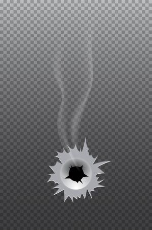 Realistic bullet hole with smoke grey backdrop