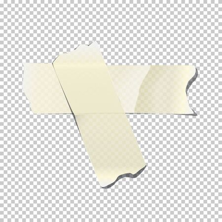 White crossed adhesive or masking tape pieces isolated on transparent background. Vector design element.