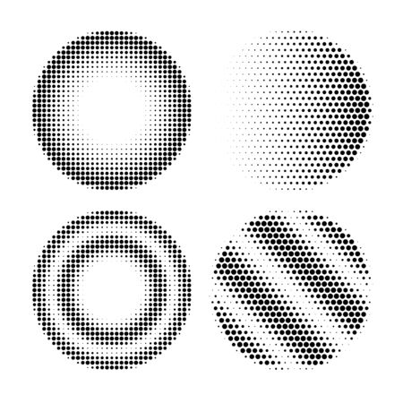 Four halftone radial gradient in circle shape polygonal form abstract design element set isolated on white background. Dark light monochrome round figure. Explosion, mosaic geometric ornament