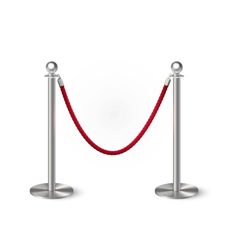 Metal column barrier with red rope. Silver luxury VIP design element for exhibition pavilion, auto show, theatre and cinema premier, winner reward ceremony. Guard object isolated on white background