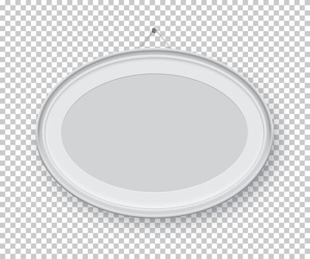 Oval horizontal white picture or photo frame holding on pin isolated on transparent background. Vector design element